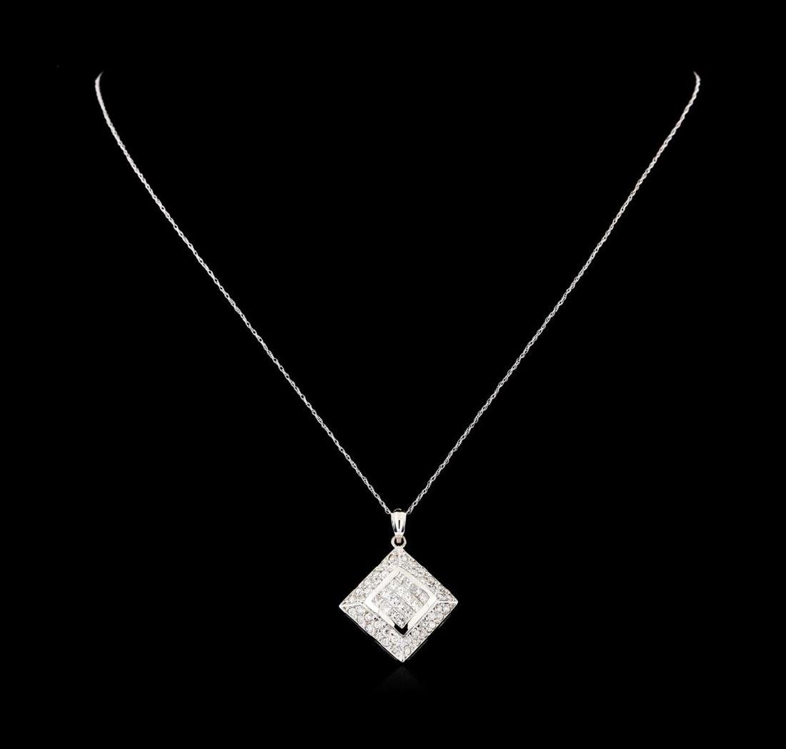 1.33 ctw Diamond Pendant with Chain - 14KT White Gold - 2