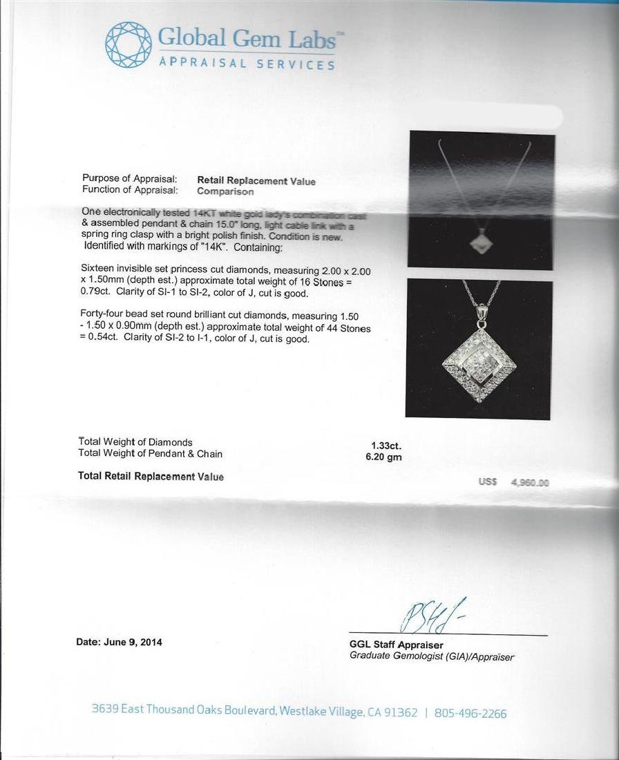 1.33 ctw Diamond Pendant with Chain - 14KT White Gold - 3