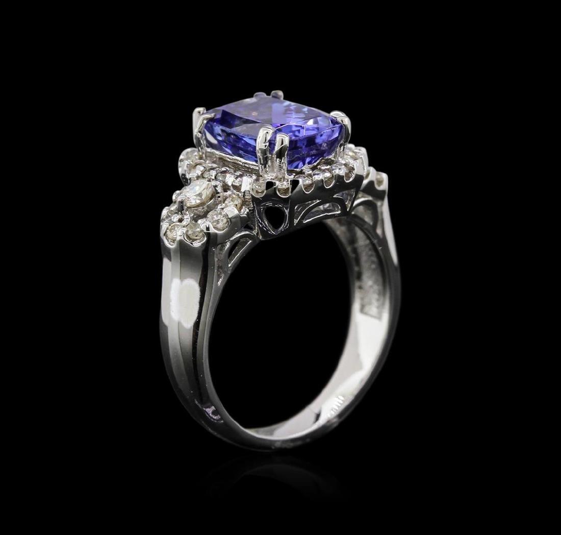 14KT White Gold 2.98 ctw Tanzanite and Diamond Ring - 3