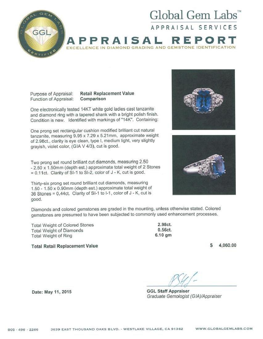 14KT White Gold 2.98 ctw Tanzanite and Diamond Ring - 4