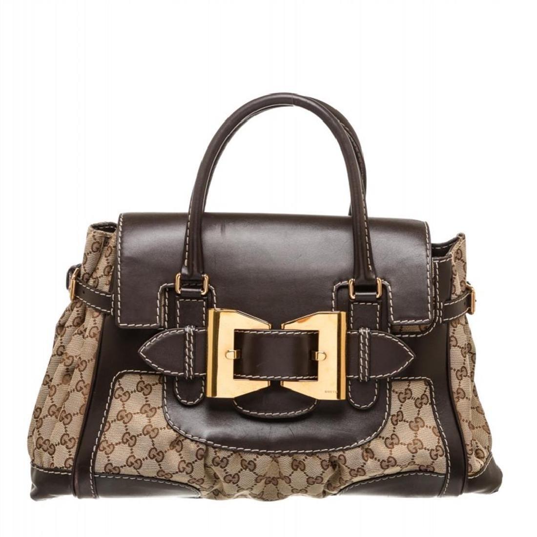 Gucci Beige Canvas Monogram Brown Leather Dialux Queen
