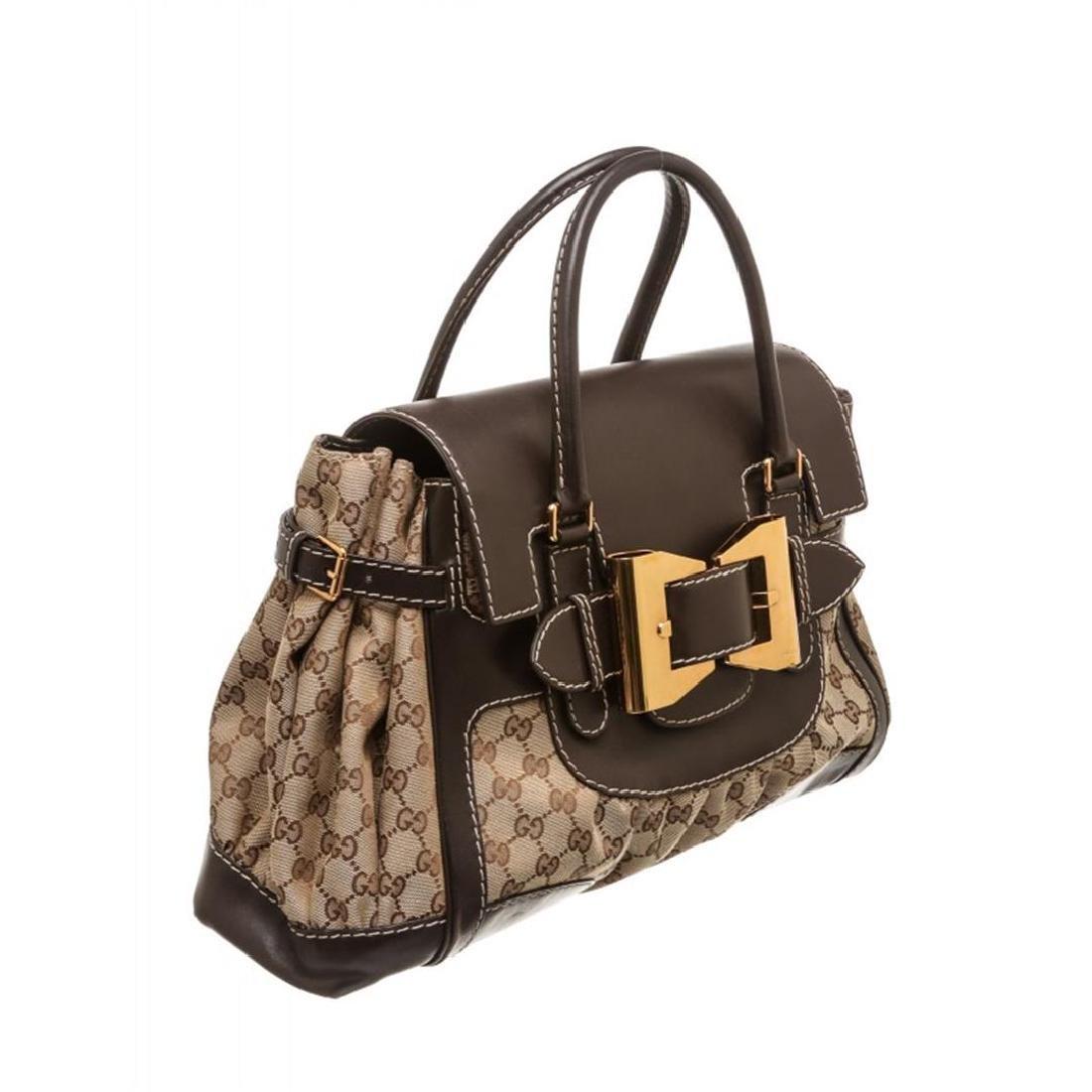Gucci Beige Canvas Monogram Brown Leather Dialux Queen - 2