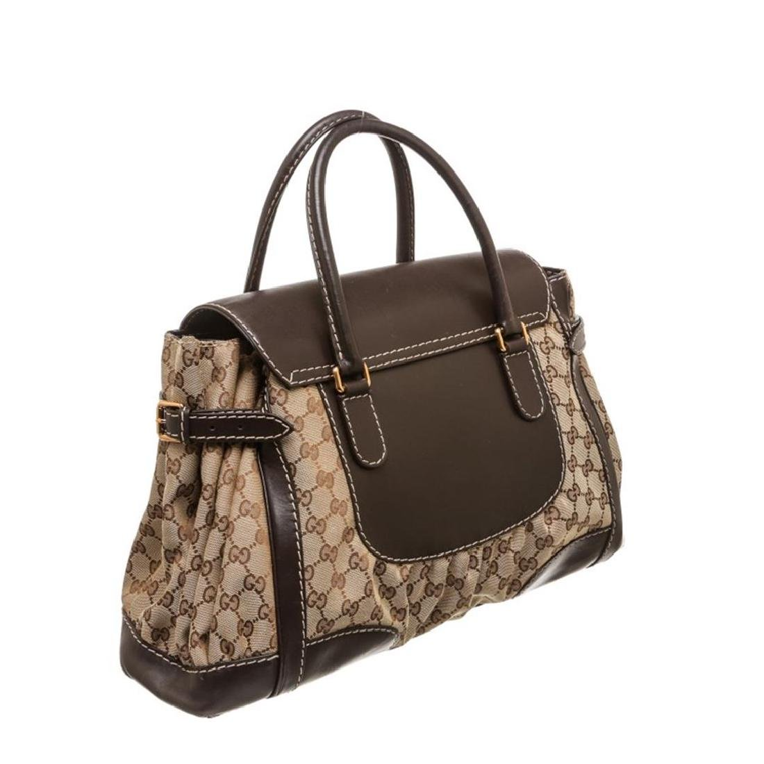 Gucci Beige Canvas Monogram Brown Leather Dialux Queen - 3