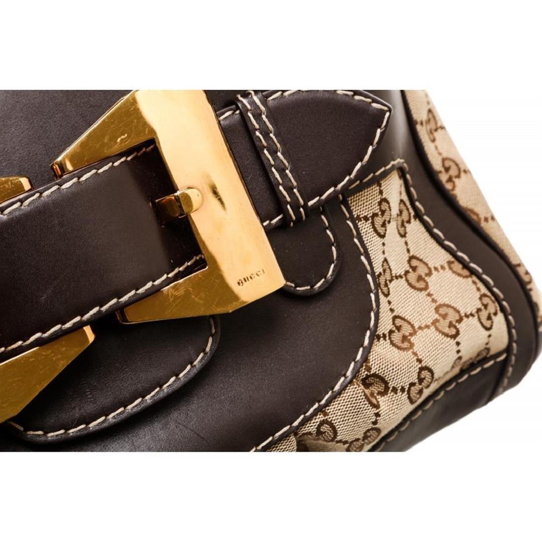 Gucci Beige Canvas Monogram Brown Leather Dialux Queen - 5
