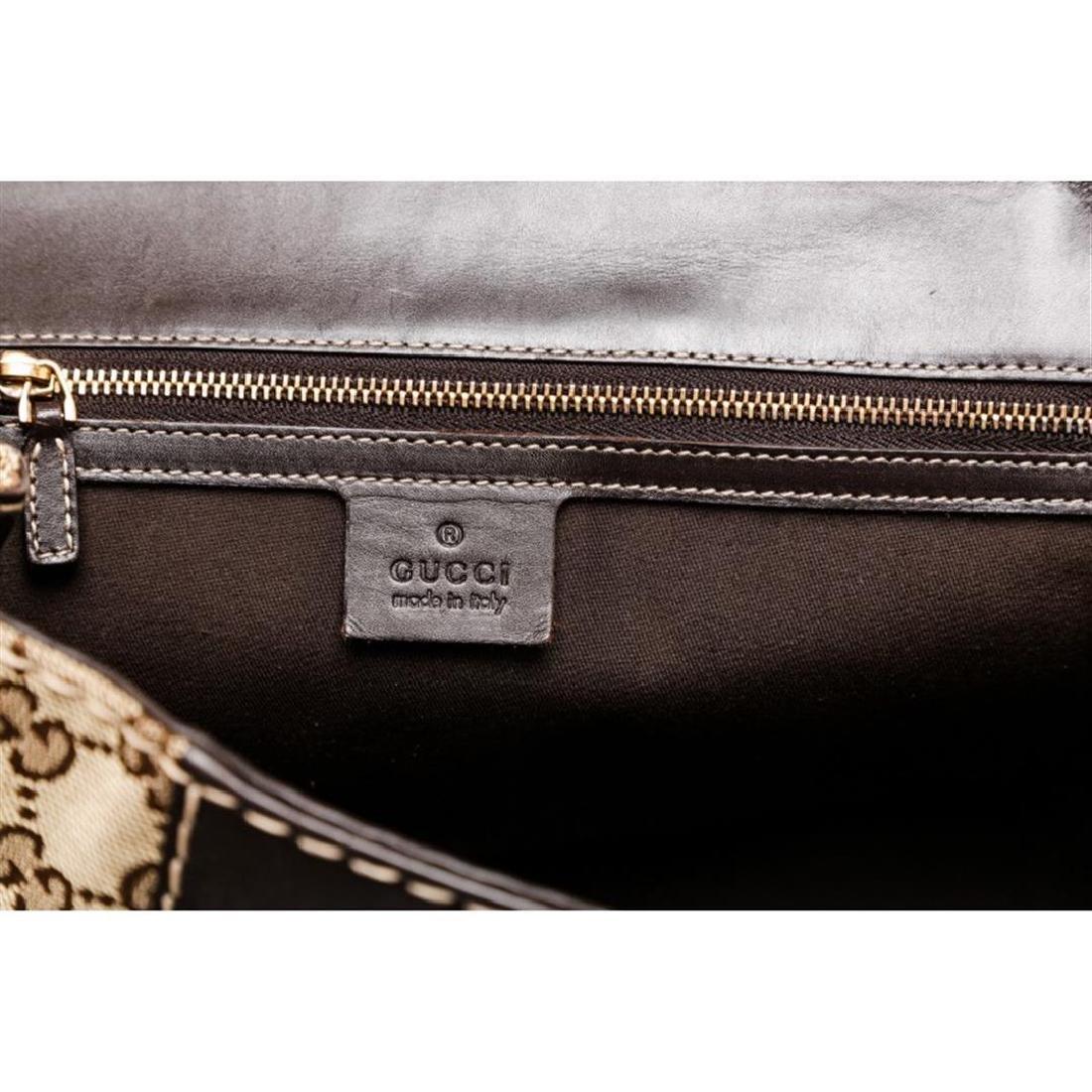Gucci Beige Canvas Monogram Brown Leather Dialux Queen - 6