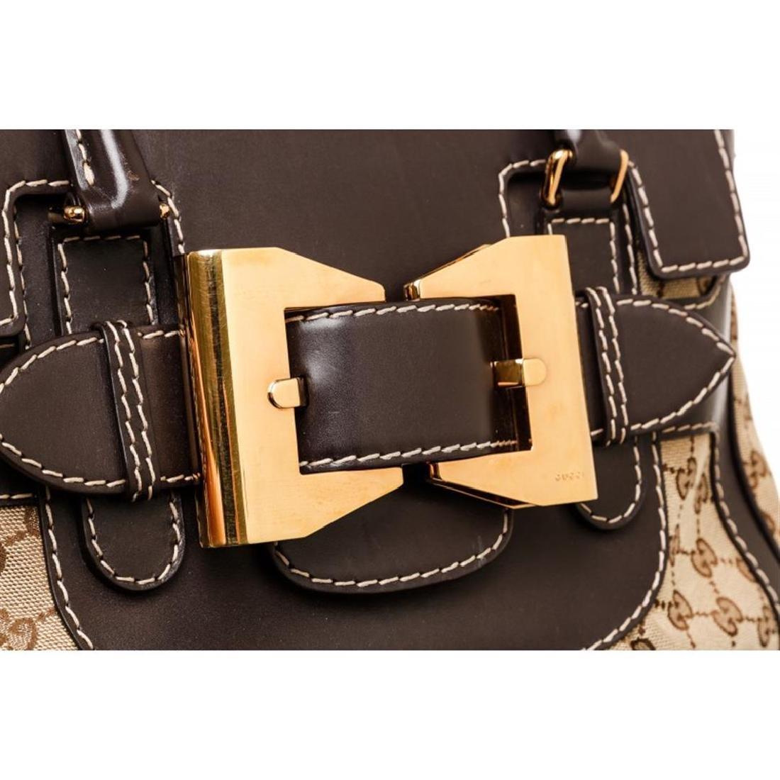 Gucci Beige Canvas Monogram Brown Leather Dialux Queen - 8