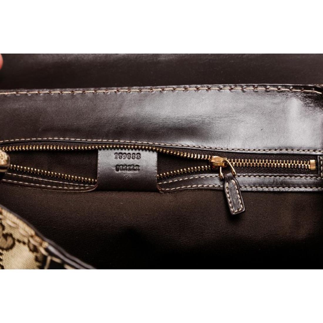 Gucci Beige Canvas Monogram Brown Leather Dialux Queen - 9