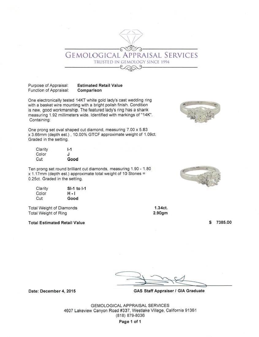 1.34 ctw Diamond Ring - 14KT White Gold - 3