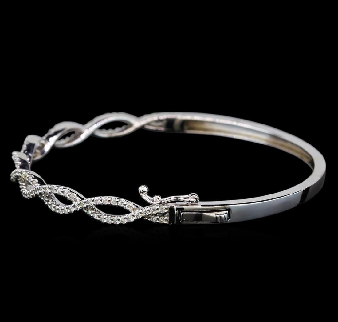 0.94 ctw Diamond Bangle Bracelet - 14KT White Gold - 2