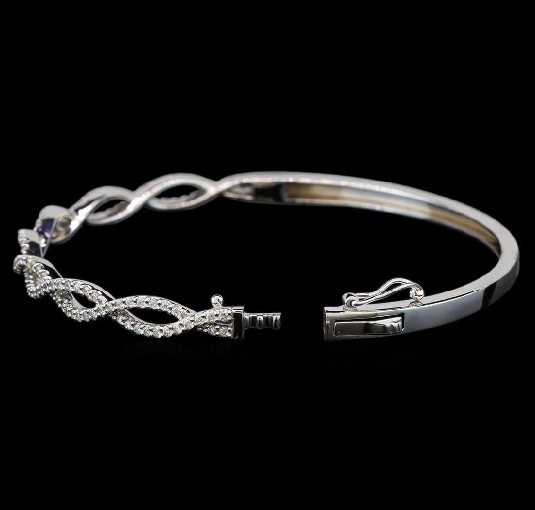0.94 ctw Diamond Bangle Bracelet - 14KT White Gold - 3