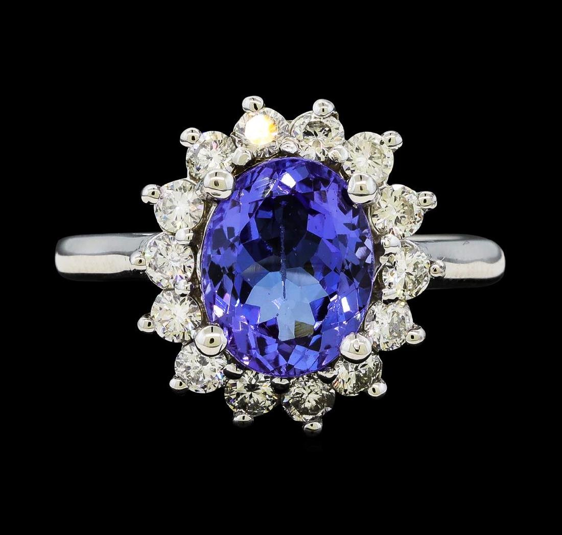 3.02 ctw Tanzanite and Diamond Ring - 14KT White Gold - 2