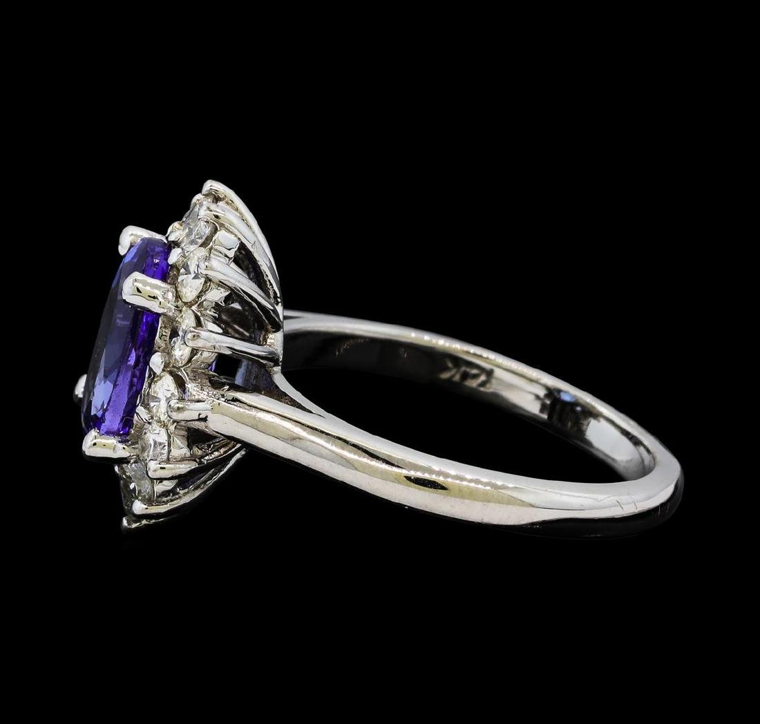 3.02 ctw Tanzanite and Diamond Ring - 14KT White Gold - 3