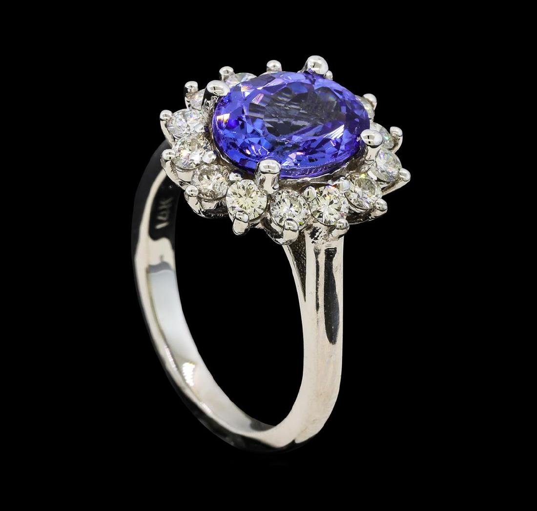 3.02 ctw Tanzanite and Diamond Ring - 14KT White Gold - 4