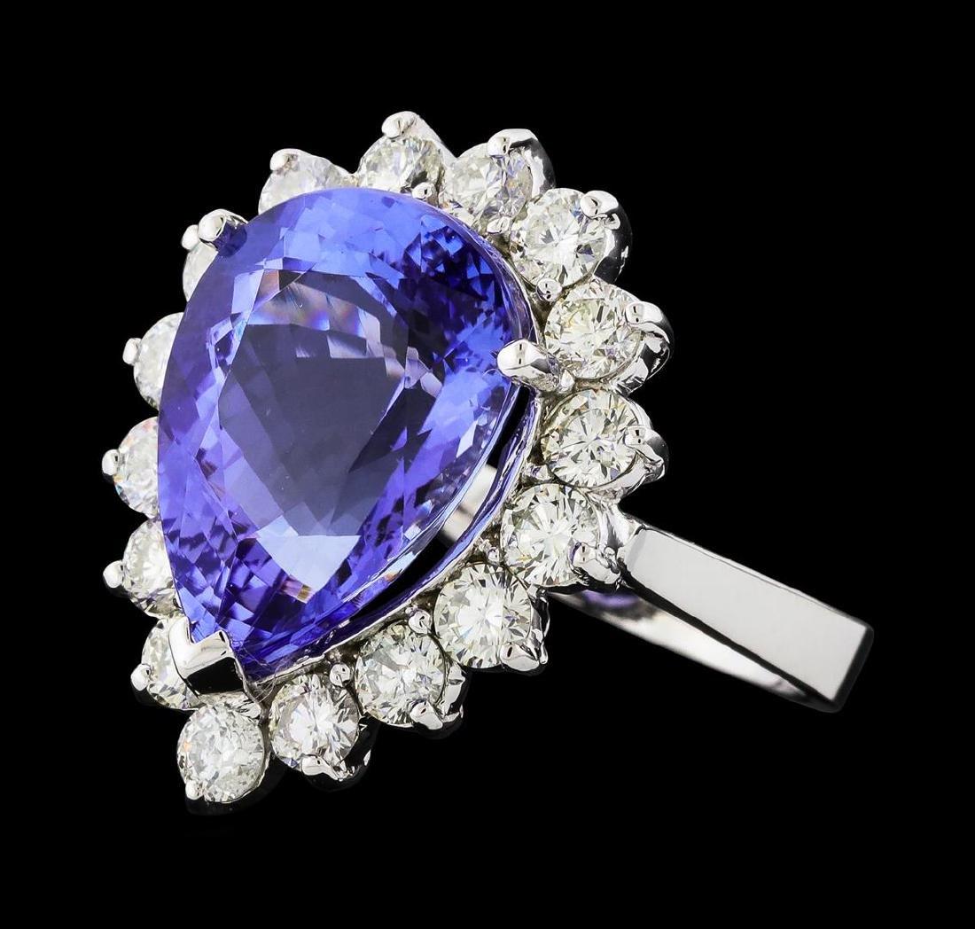 GIA Cert 9.31 ctw Tanzanite and Diamond Ring - 14KT