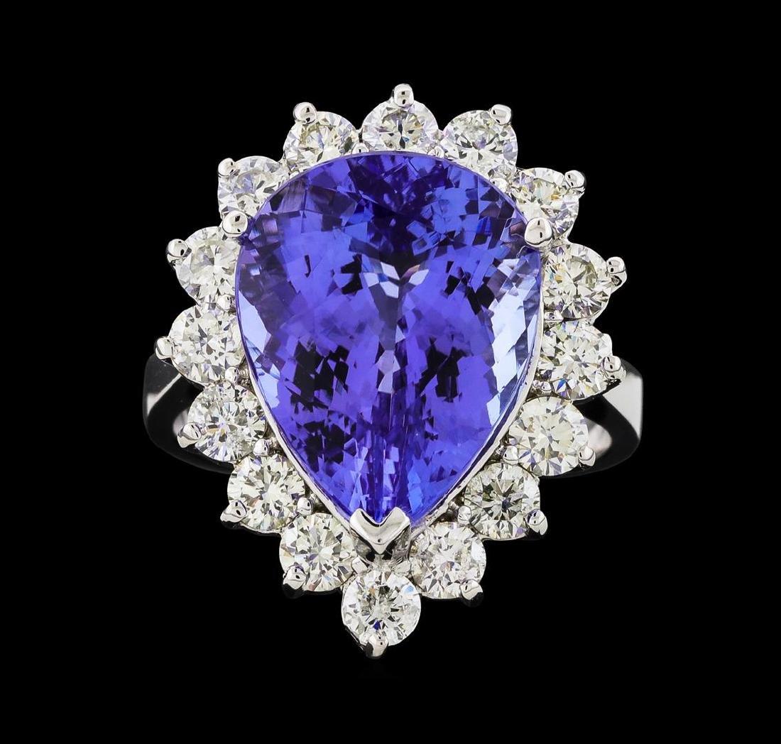 GIA Cert 9.31 ctw Tanzanite and Diamond Ring - 14KT - 2