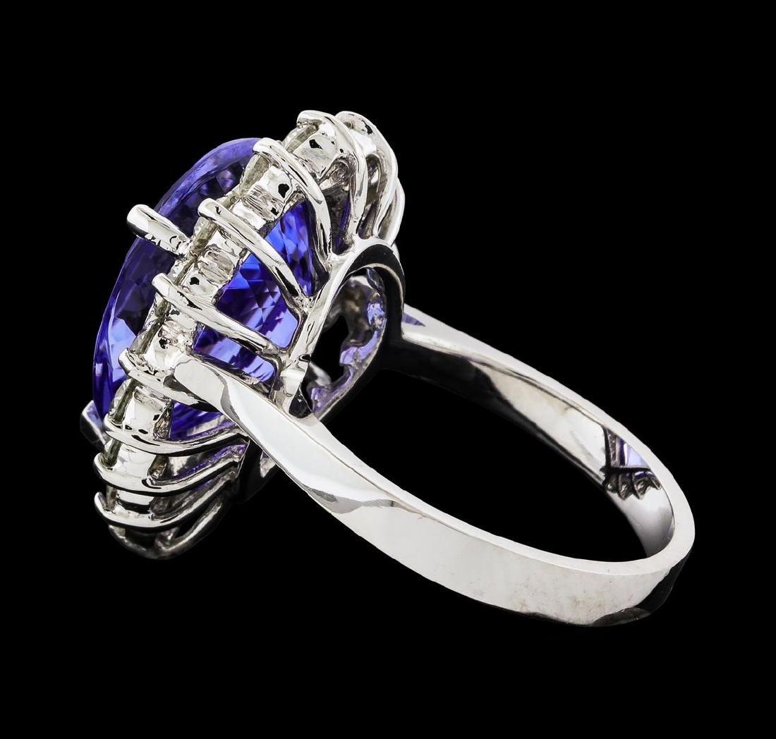 GIA Cert 9.31 ctw Tanzanite and Diamond Ring - 14KT - 3