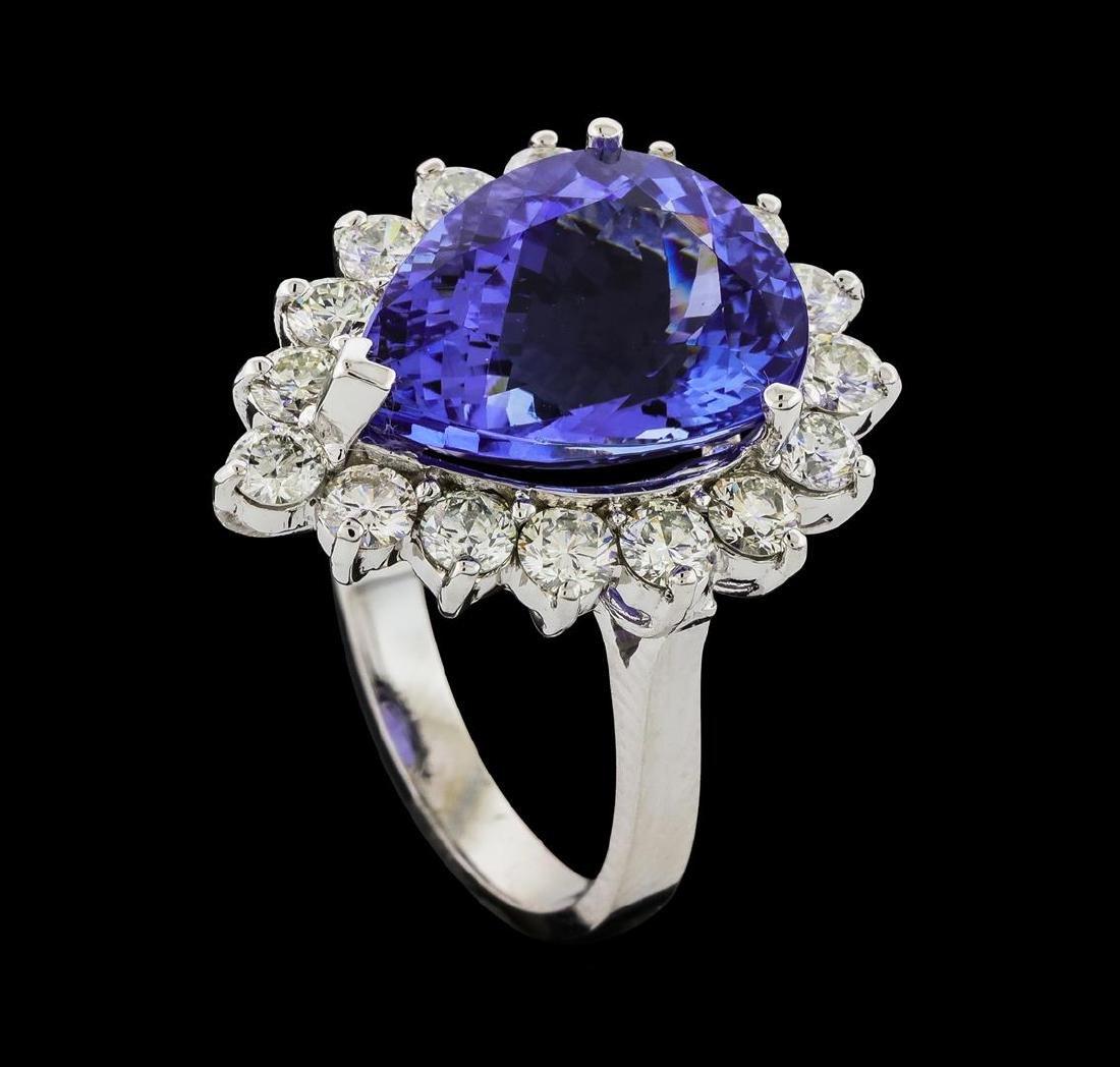 GIA Cert 9.31 ctw Tanzanite and Diamond Ring - 14KT - 4