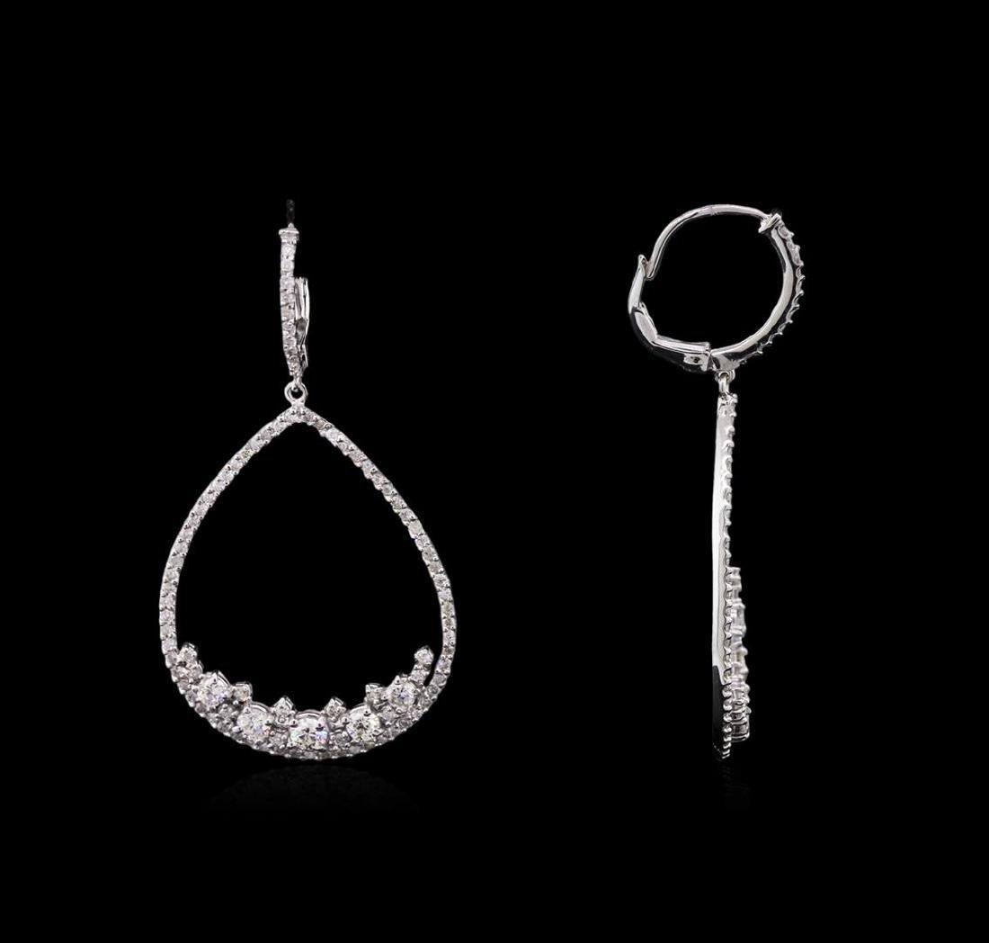 1.86 ctw Diamond Earrings - 14KT White Gold - 2