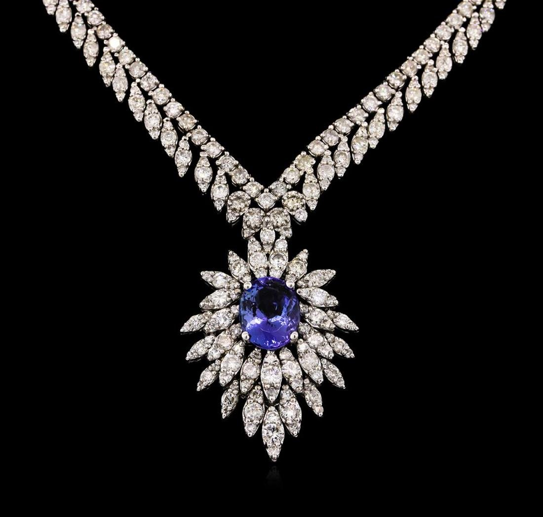 14KT White Gold 3.87 ctw Tanzanite and Diamond Necklace - 2