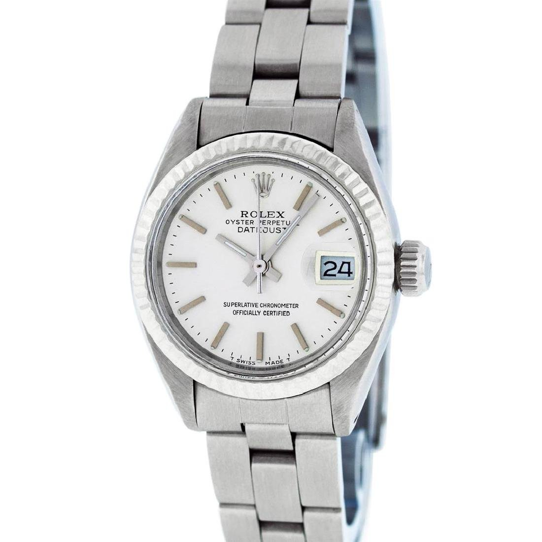 Rolex Ladies Stainless Steel Silver Index Oyster Band - 2