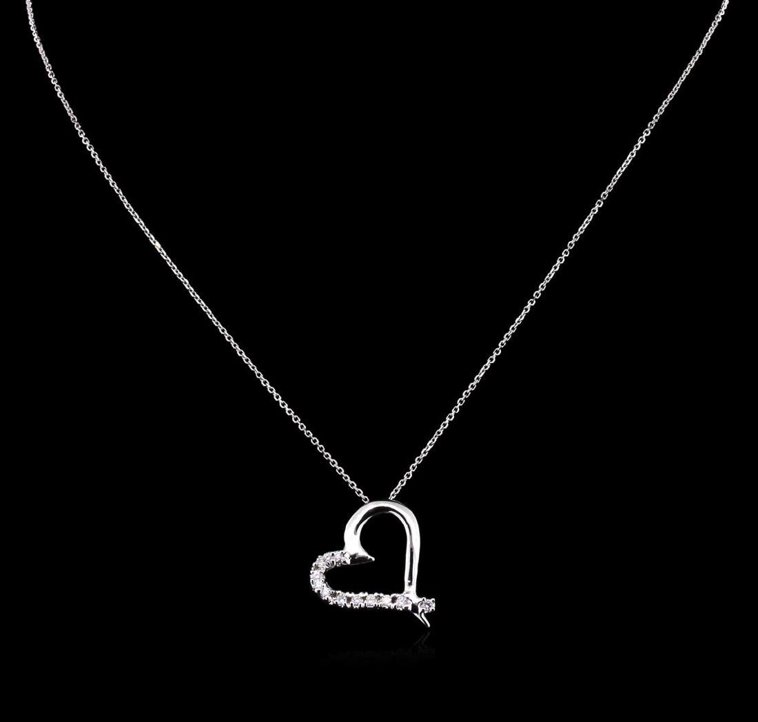 0.45 ctw Diamond Pendant With Chain - 14KT White Gold - 2