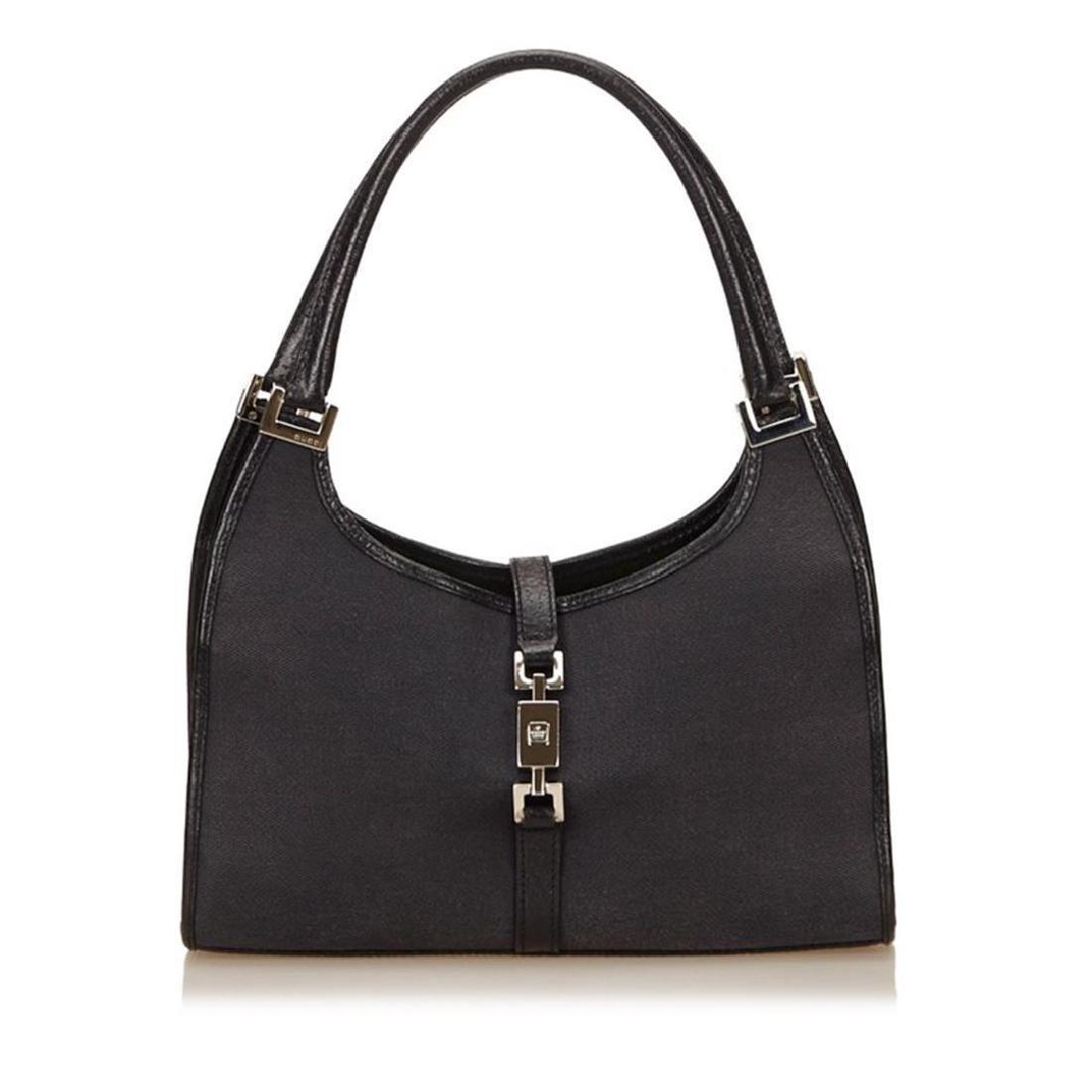 Gucci Black Canvas Leather Jackie Shoulder Bag
