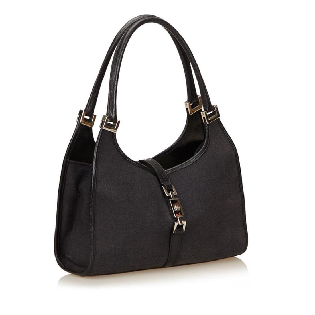 Gucci Black Canvas Leather Jackie Shoulder Bag - 2