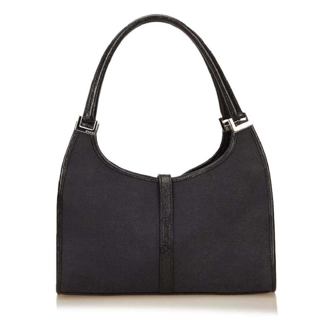 Gucci Black Canvas Leather Jackie Shoulder Bag - 3