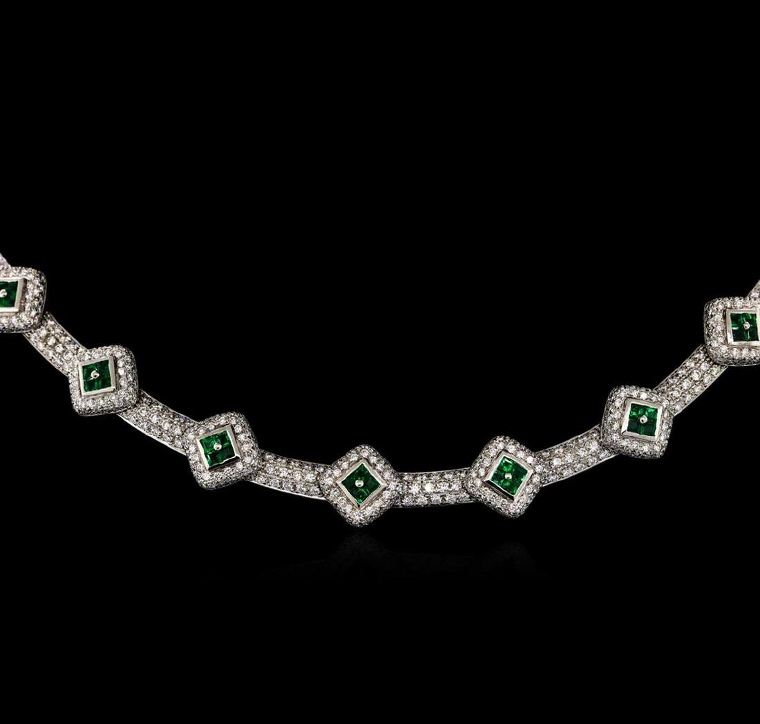 6.15 ctw Diamond and Emerald Necklace - 18KT White Gold - 2
