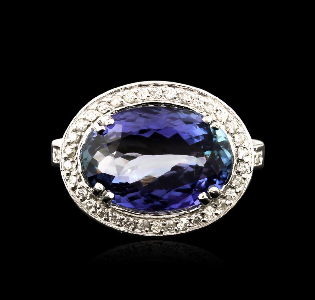 6.52 ctw Tanzanite and Diamond Ring - 14KT White Gold - 2