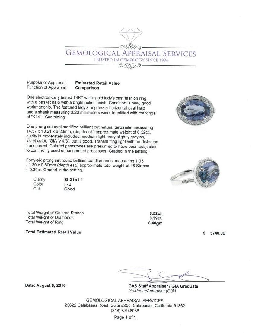 6.52 ctw Tanzanite and Diamond Ring - 14KT White Gold - 3