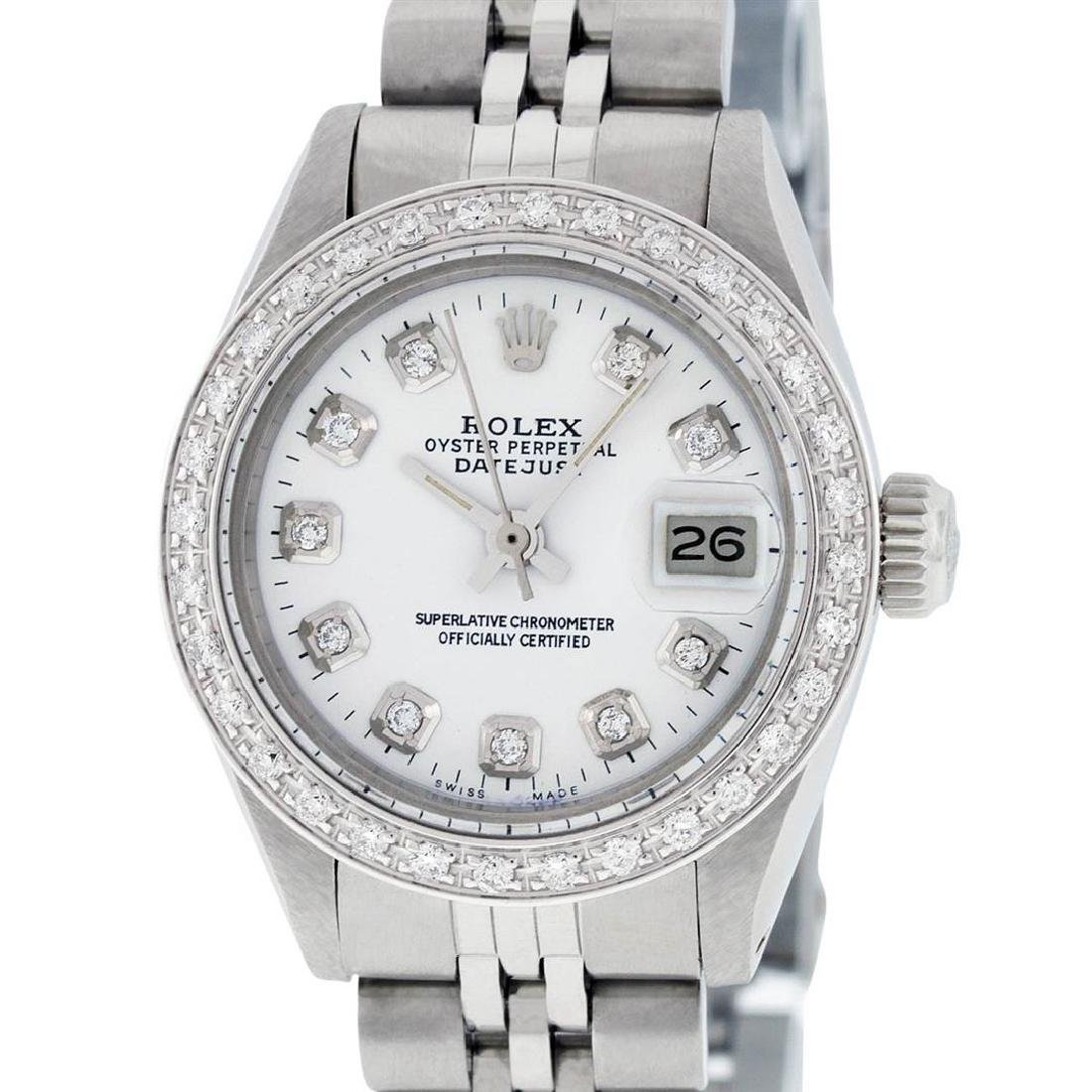 Rolex Ladies Stainless Steel White Diamond 26MM