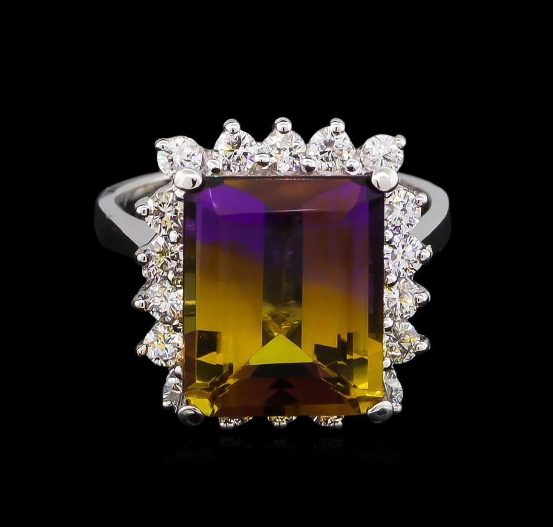 6.00 ctw Ametrine and Diamond Ring - 14KT White Gold - 2