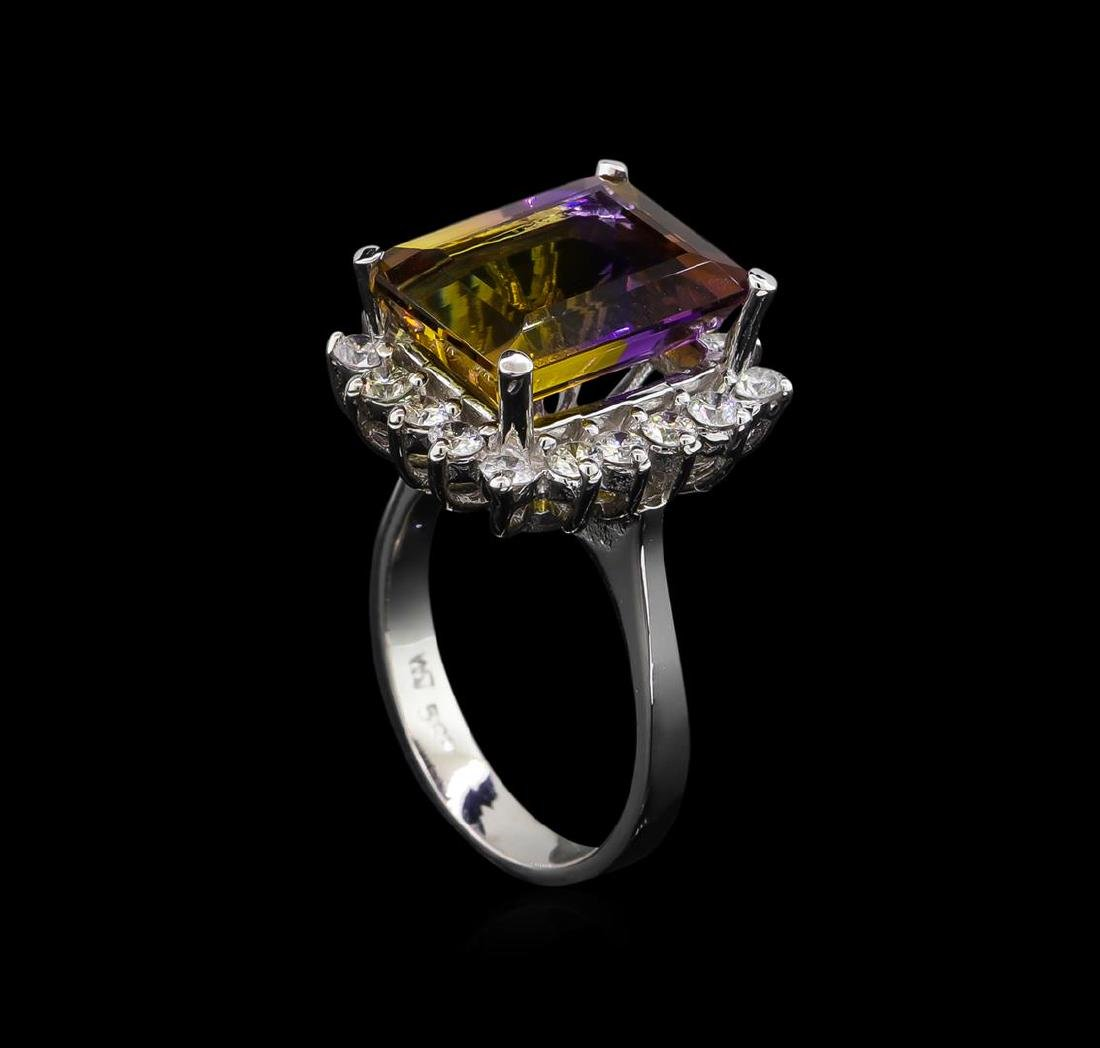 6.00 ctw Ametrine and Diamond Ring - 14KT White Gold - 4