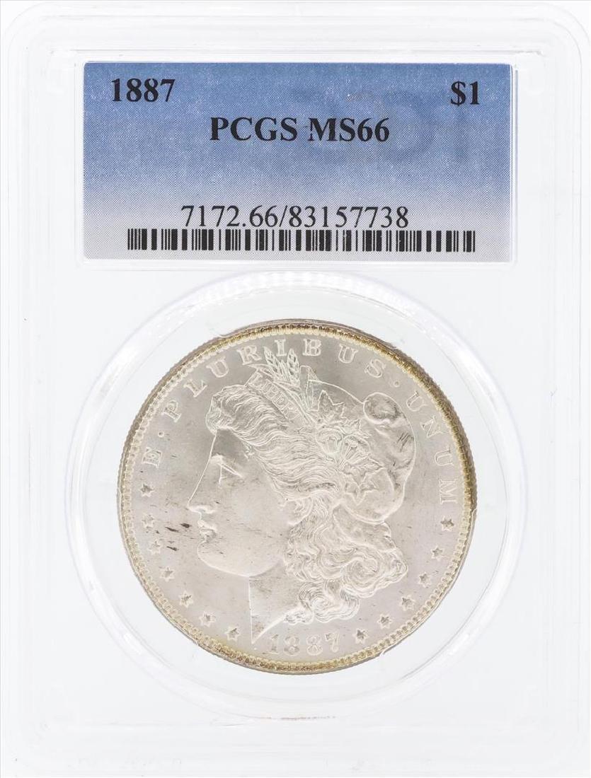 1887 $1 Morgan Silver Dollar Coin PCGS MS66