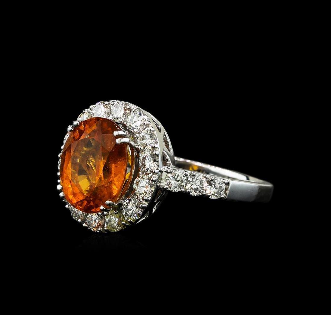 3.50 ctw Mandarin Spessartite and Diamond Ring - 14KT