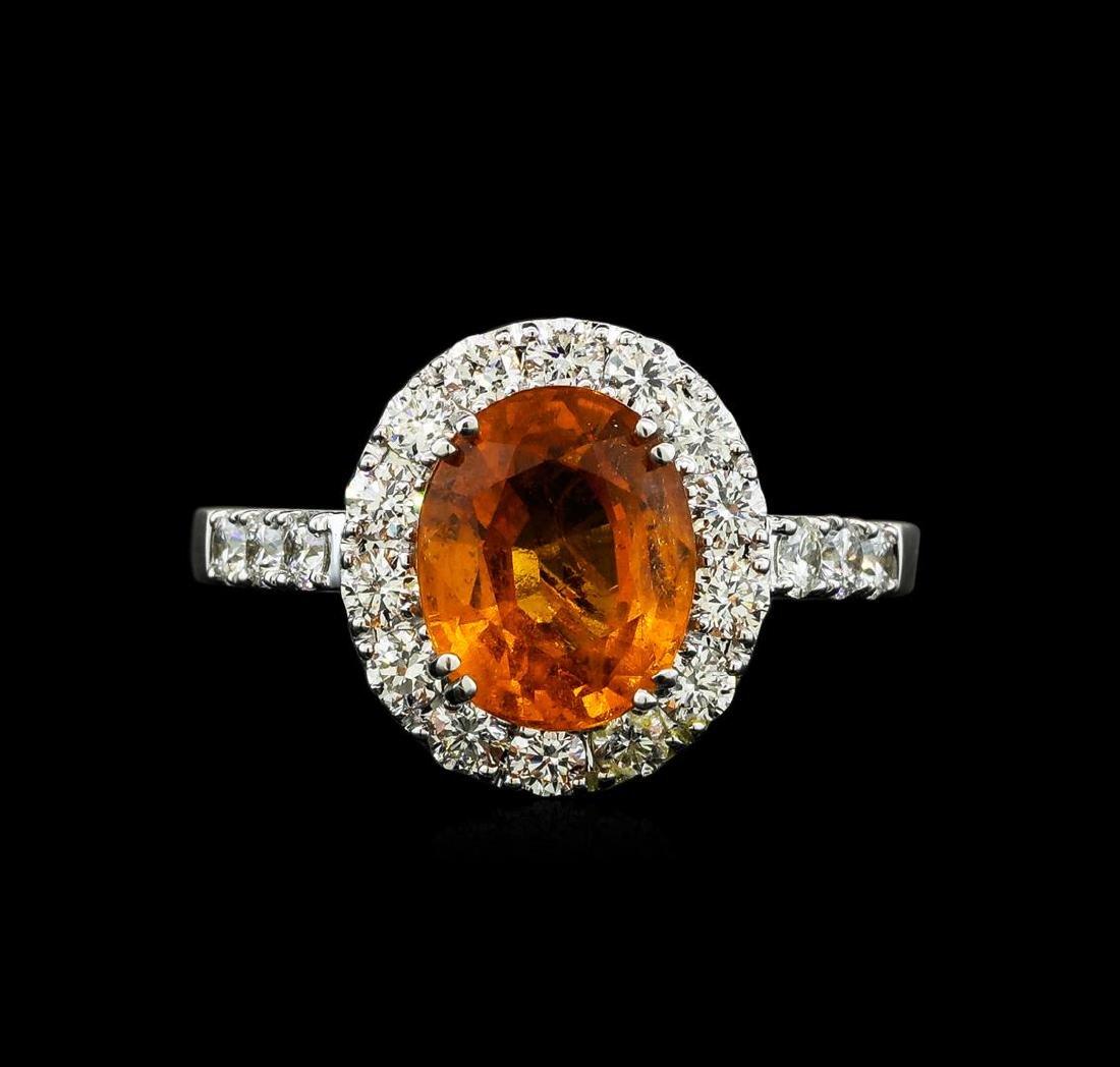 3.50 ctw Mandarin Spessartite and Diamond Ring - 14KT - 2