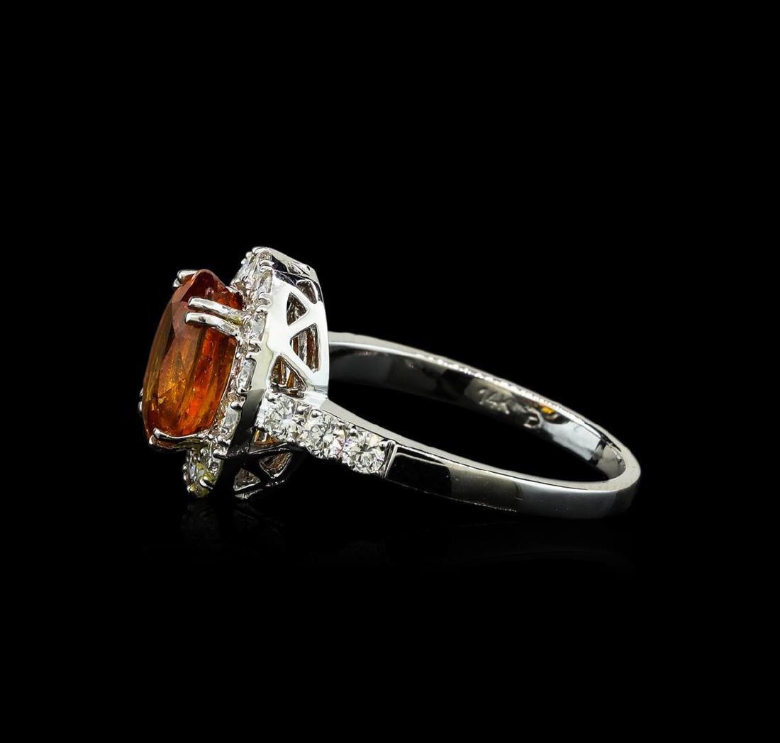 3.50 ctw Mandarin Spessartite and Diamond Ring - 14KT - 3