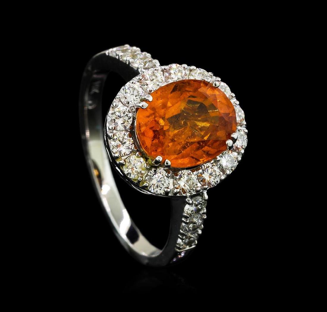 3.50 ctw Mandarin Spessartite and Diamond Ring - 14KT - 4