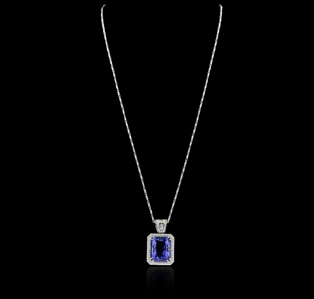 18KT White Gold GIA Certified 16.95 ctw Tanzanite and - 3