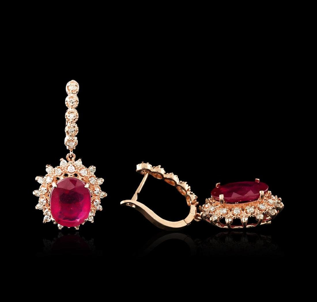14KT Rose Gold 14.74 ctw Ruby and Diamond Earrings - 2
