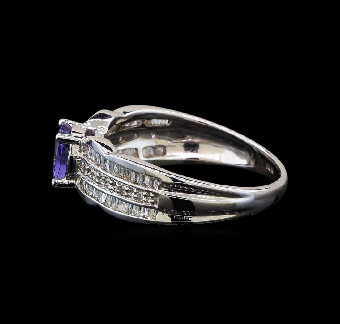 14KT White Gold 0.85 ctw Tanzanite and Diamond Ring - 3