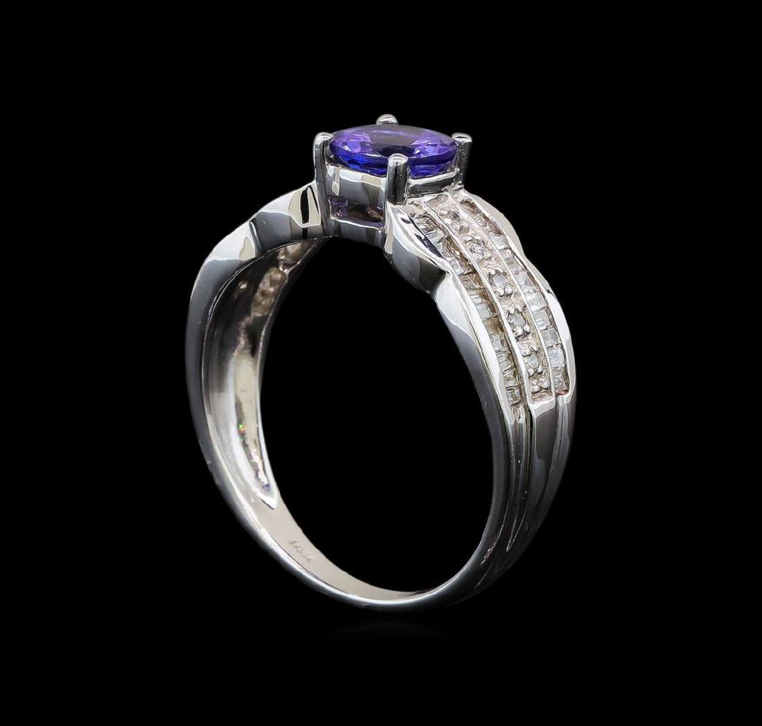 14KT White Gold 0.85 ctw Tanzanite and Diamond Ring - 4