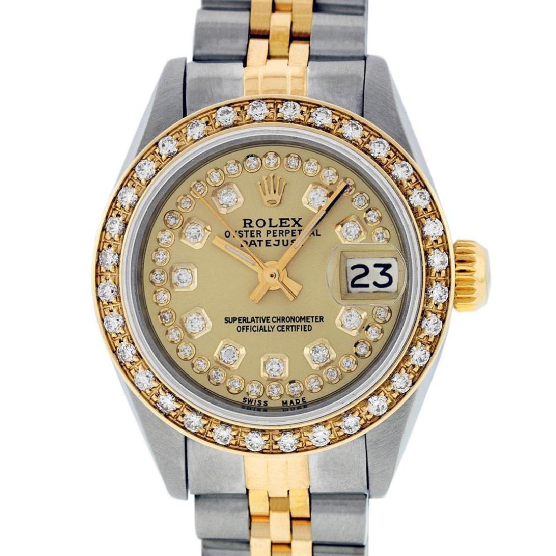 Rolex Ladies 2 Tone 14K Champagne String Diamond