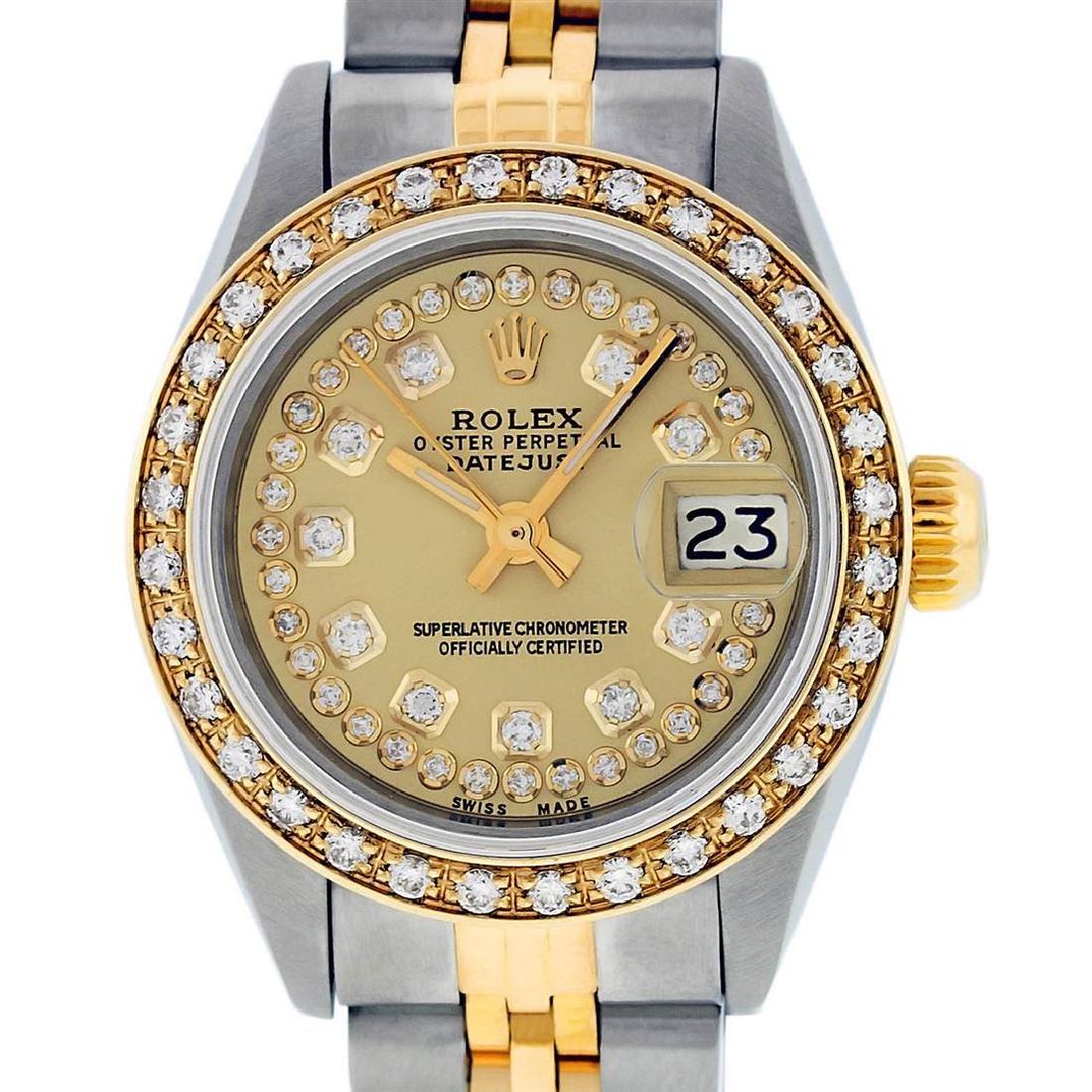 Rolex Ladies 2 Tone 14K Champagne String Diamond - 2
