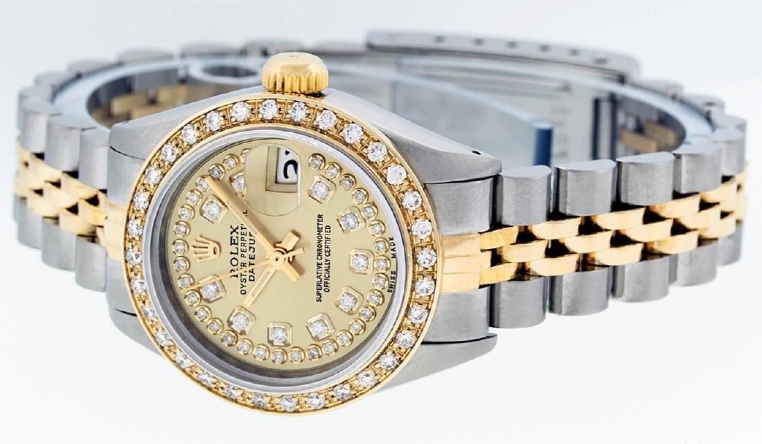 Rolex Ladies 2 Tone 14K Champagne String Diamond - 4
