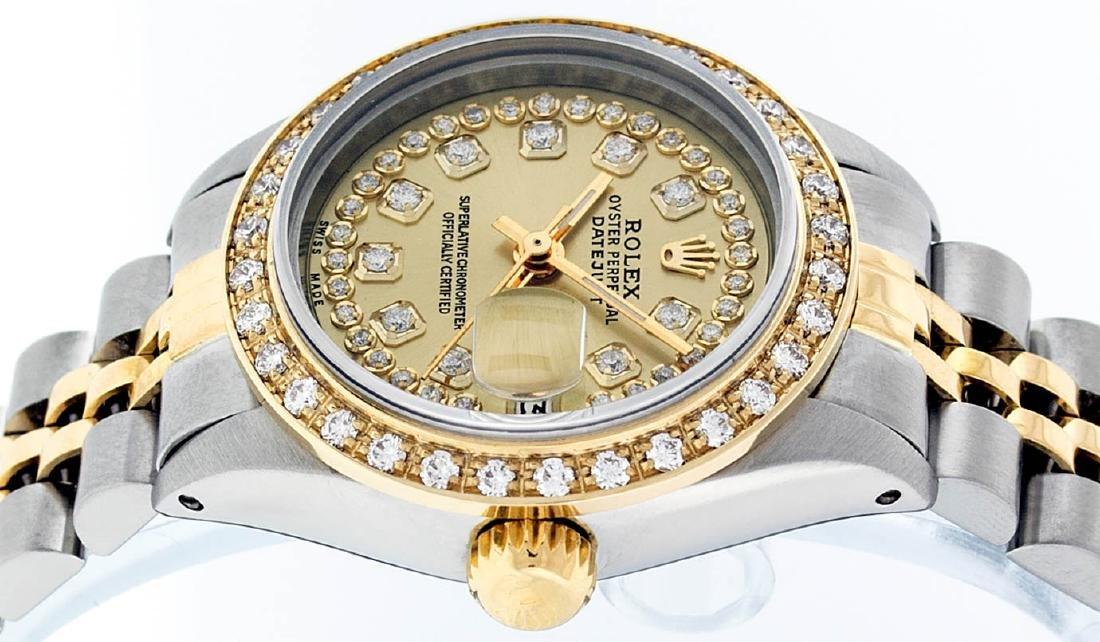 Rolex Ladies 2 Tone 14K Champagne String Diamond - 5