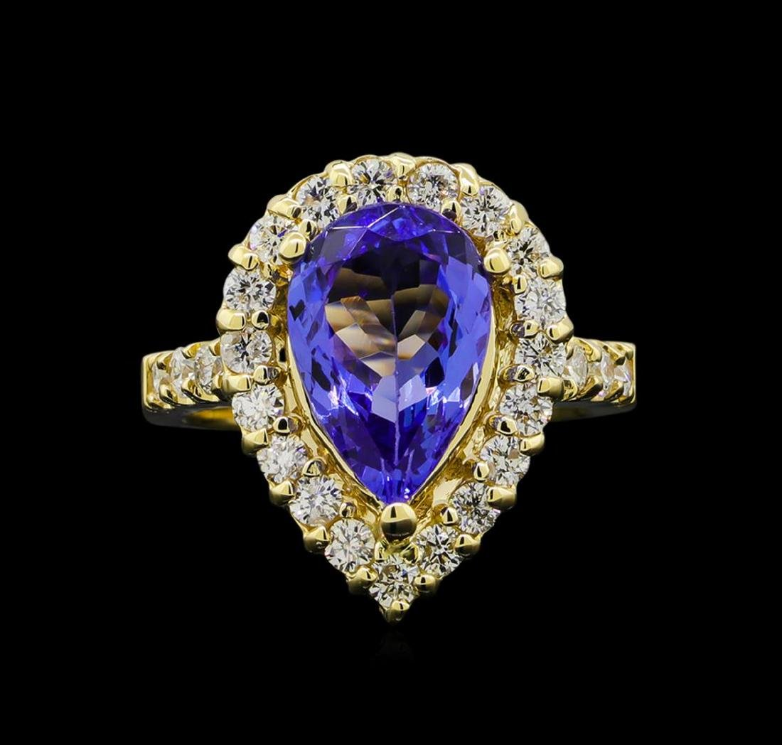 3.46 ctw Tanzanite and Diamond Ring - 14KT Yellow Gold - 2