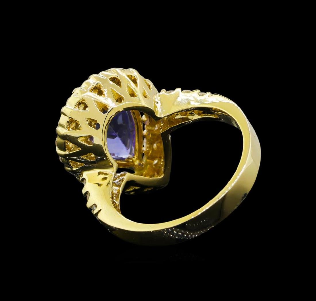 3.46 ctw Tanzanite and Diamond Ring - 14KT Yellow Gold - 3