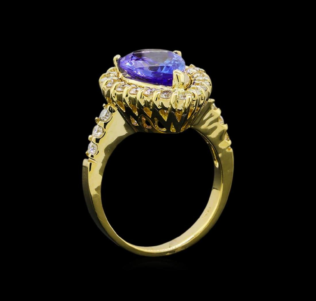 3.46 ctw Tanzanite and Diamond Ring - 14KT Yellow Gold - 4